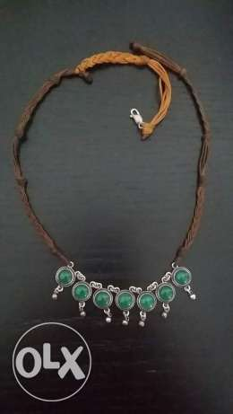 Real silver with Jade stones and leather necklace