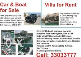 Jeep Wrangler & Yamaha Boat 4 sale + villa at floating city 4 r ent