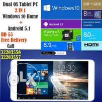 dual os tablet 2 in 1windows 10 home + android 5.1