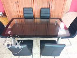 6 chair glass dining table for sale