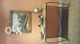 Glass console with painting