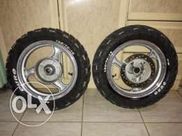 1 set rims with tire, 120/70/12,130/70/12