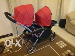Red contours double stroller excellent condition