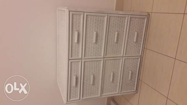 White cane wardrobe and chest of drawers