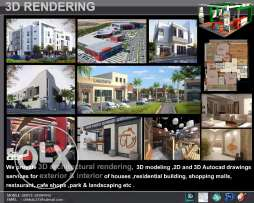 3d design and rendering for interior and exterior decoration