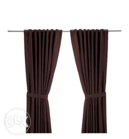 Pair of brown IKEA RITVA curtains