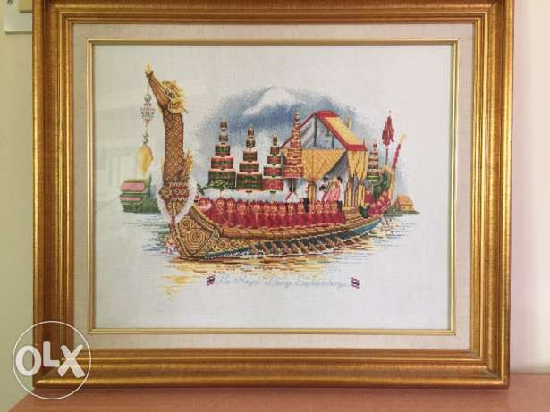 Wall hanging Tapestry(woven picture)of the royal Thai barge