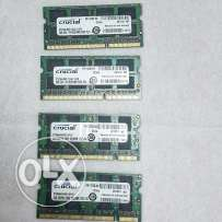 For Sale 4 Crucial Memory 2GB DDR3 / DDR2 For Laptop Total 8GB