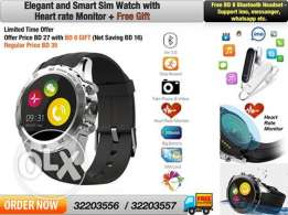 elegant style smart sim watch with heart rate monitor