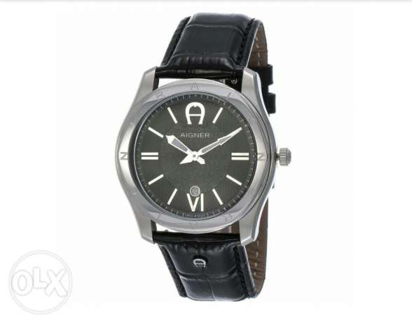 New Aigner original swiss made for men's black belt and black dial. جد علي -  3