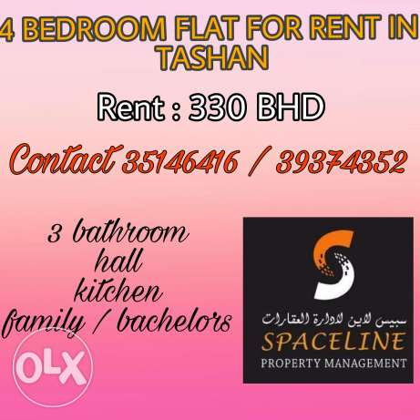 4 Bedroom flat for rent in Tashan