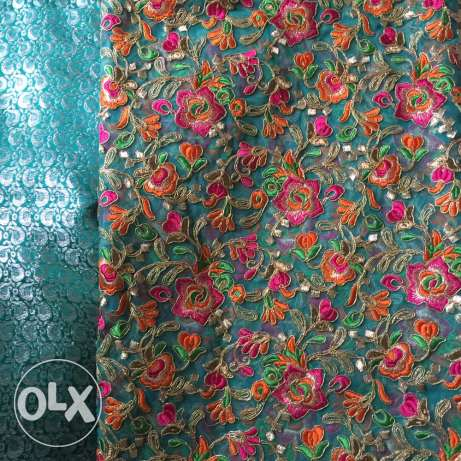 Unstitched 2 piece cloth with embroidered net and silk jamawar