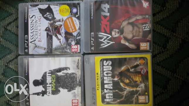 assassins creed iv+cull of duty mw3+in famous1+wwe 2k14 ps3