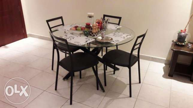Glass Dining Table with 4 leather chairs & Folding Dining wooden table