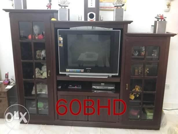 Wooden tv stand - iron table - teapoy