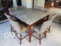 8-Seater marble dining set.