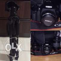 camera canon 550D with 3 lenses and her stand
