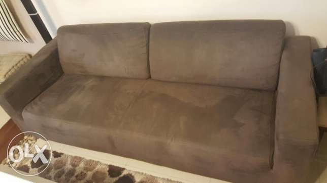 Brown suede sofas