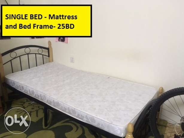 Sale: Single bed with Mattress 25 BD only & Carpet 20BD only