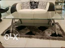 glass coffee table with 1 corner table